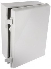 "BUD Industries NBB-15247 Style B Plastic Outdoor NEMA Box with Solid Door, 15-43/64"" Length x 11-23/32"" Width x 6-19/64"" Height, Light Gray Finish"