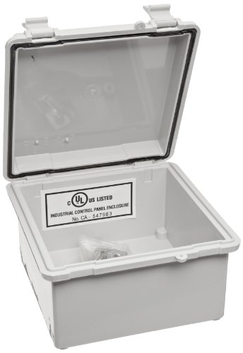 "BUD Industries NBB-15240 Style B Plastic Outdoor NEMA Box with Solid Door, 5-57/64"" Length x 5-57/64"" Width x 3-9/16"" Height, Light Gray Finish"